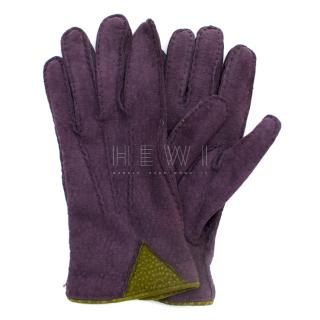 Soli Purple Cashmere & Leather Gloves