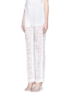 Givenchy White Floral Lace Trousers