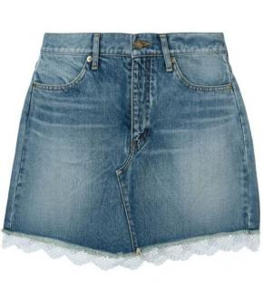 Saint Laurent lace hem denim skirt