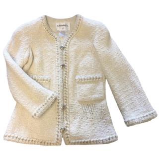 Chanel ivory tweed blazer/jacket with gold chain detail
