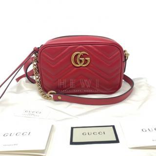 Gucci Red Mini Marmont Camera Bag