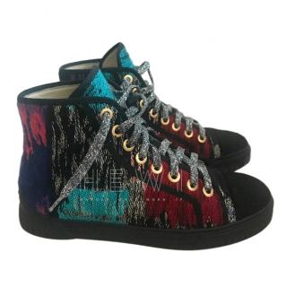 Chanel Metallic Tweed High Top Trainers