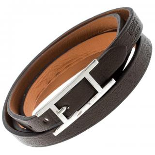 Hermes Hapi 3 Dark Green Leather Palladium Wrap Bracelet