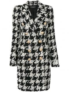 Balmain double-breasted houndstooth wool coat - new season
