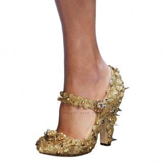 Dolce & Gabbana Gold Floral-Applique Mary Jane Pumps