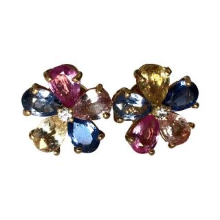 Bvlgari coloured sapphire petals and central diamond flower earrings