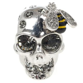 Alexander McQueen Crystal skull and bee ring