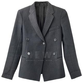 Celine Black Single Breasted Jacquard Blazer