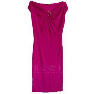 Roberto Cavalli Twisted-Bust Fuchsia Dress