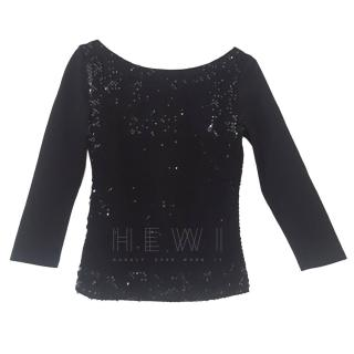 AKRIS Sequin-Panel Black Top