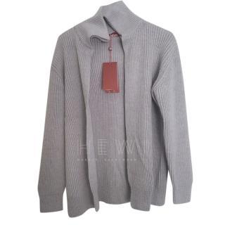 MaxMara Grey Ribbed-Knit Zip-Through Sweater