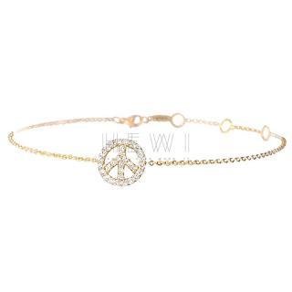 Messika Paris Diamond-Encrusted Peace & Love bracelet