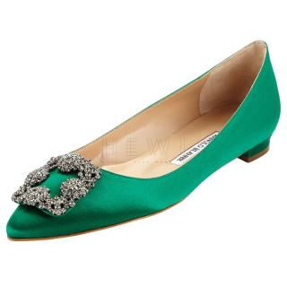 Manolo Blahnik Hangisi green-satin flat pumps