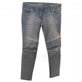 Balmain Grey Ribbed-Panel Jeans