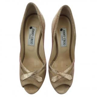 Jimmy Choo Quiet beige and gold peep-toe pumps