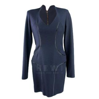Safiyaa Piped-Leather Black Long Sleeved Dress