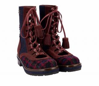 Chanel burgundy tartan biker boots - current