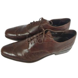 Rocco P brown tooled leather brogues