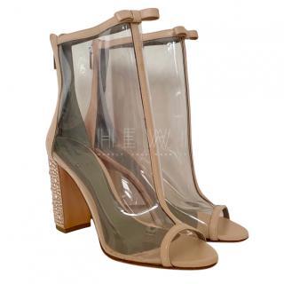Gina Peep-Toe PVC Ankle Boots
