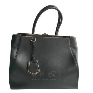 Fendi 2 Jour black leather tote