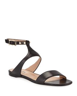 Valentino flat black leather rockstud sandals