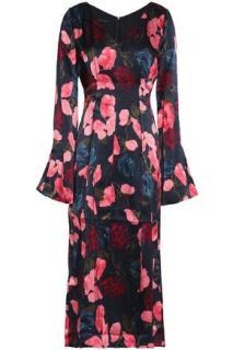 Mother of Pearl floral print silk satin midi dress