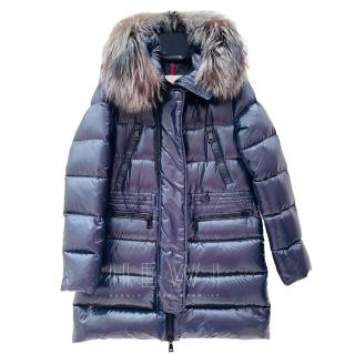 Moncler Aphrotiti blue quilted down coat with detachable fur hood
