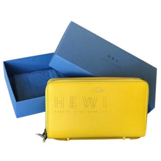 Smythson large yellow calfskin travel wallet