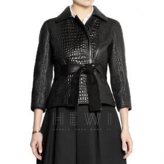 Fendi black croc embossed leather jacket