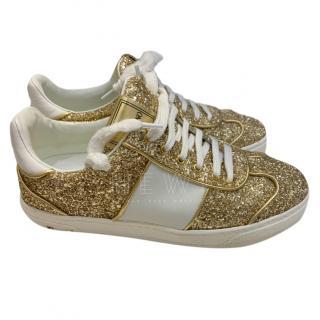 Valentino gold glitter stud trainers