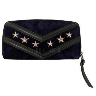 Jimmy Choo Suede & Leather Navy Filipa Wallet