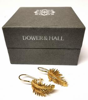 Dower & Hall Gold Feather Earrings