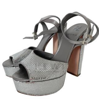 Gina silver sequin-embellished platform sandals