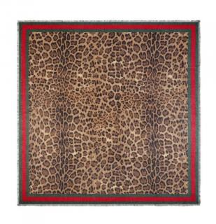 Gucci Web Trim Leopard Print Silk Blend Scarf