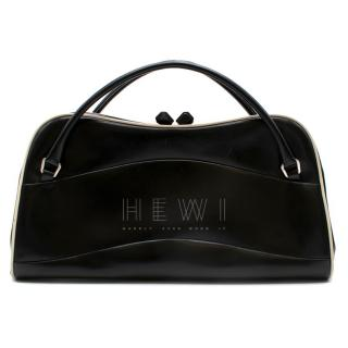 Prada Vintage Black Polished Leather Top Handle Bag