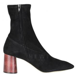 Helmut Lang cone-heel suede ankle boots