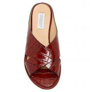Gabriela Hearst Ellington Croc-effect Leather Wedge Sandals