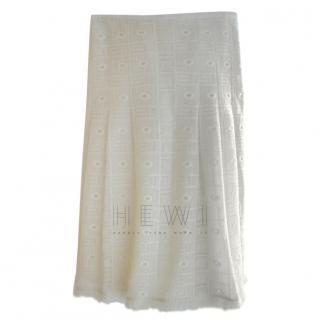 Paule Ka Embroidered-Lace Cream Fringed Skirt