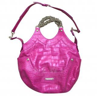 Versace Vintage pink crocodile-effect leather bag
