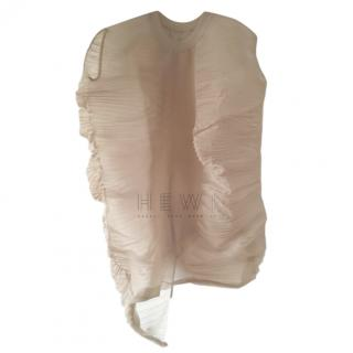 Rick Owens nude pleated-organza cocoon draped top