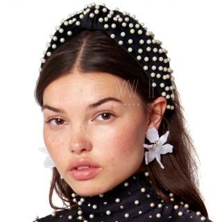 Lele Sadoughi black pearl-embellished headband
