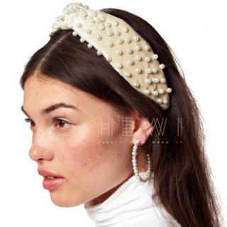 Lele Sadoughi beige pearl-embellished headband