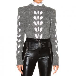 Isabel Marant Eyelet-Knit Grey Wool Sweater