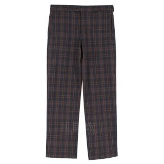 Prada Navy & Brown Checked Straight-Leg Trousers