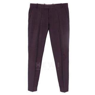 Etro Purple Jacquard Silk Trousers