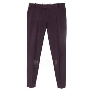 Etro Purple Jacquard Silk Trousers