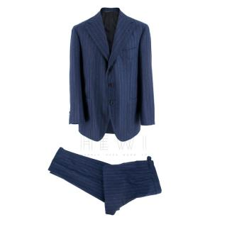 Gianni Volpe Bespoke Blue Pin Striped Wool Suit