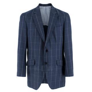 Hackett London Navy Wool Windowpane-Check Blazer