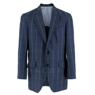 Hackett London Navy Wool Windowpane-Check Blazer