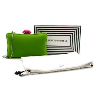 Lulu Guinness Green Velvet Clutch Bag